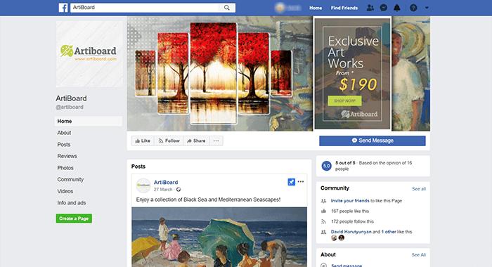 Artiboard FB-page screen